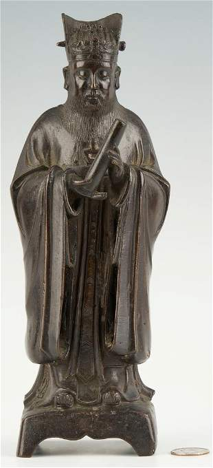 Chinese Daoist Bronze Figure, poss.Wen Chang