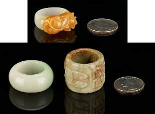 3 Chinese Jade Rings, incl. Dragon