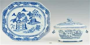 Chinese Blue & White Export Tureen + Platter