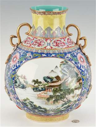 Famille Rose Vase with Serpent Handles