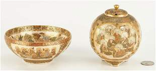 Meiji Satsuma Bowl & Covered Urn