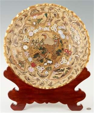 "Large Japanese Satsuma 19"" Charger or Bowl, Bird"