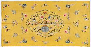 Chinese Qing Yellow Silk Embroidered Panel, signed