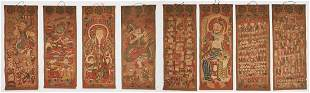 8 Chinese Yao Ceremonial Temple Scroll Paintings