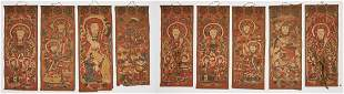 9 Chinese Yao Ceremonial Temple Scroll Paintings