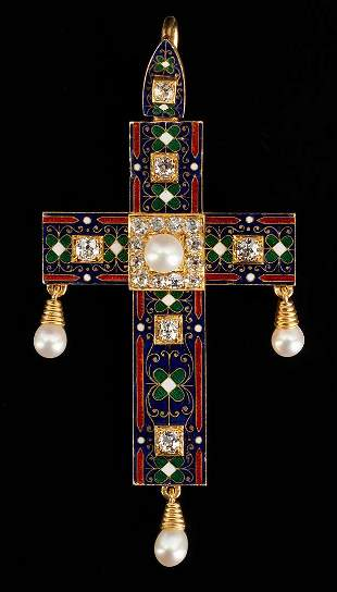 18K Gold, Enamel, and Diamond Cross Pendant, 19th c.