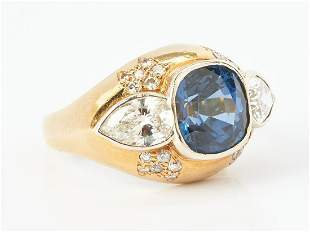 Ladies 18K & 14K Diamond and Sapphire Ring