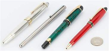 4 Designer Pens, incl. 2 Montblanc, Aurora, Waterman