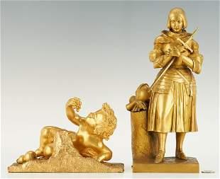 2 French Gilt Bronze Sculptures, Joan of Arc & Cherub
