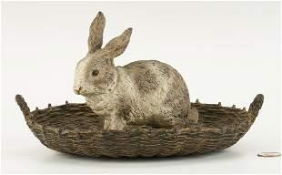 Cold Painted Vienna Bronze Rabbit in Basket