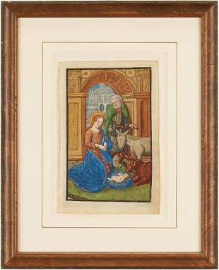 Illuminated Miniature Painting on Vellum, The Nativity
