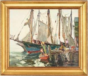 C. Curry Bohm O/C Harbor Scene, Loading