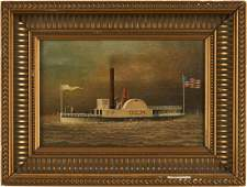 American School, 19th C. Steamboat Painting
