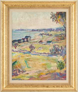 Omer Lassonde O/B Painting, Idyllic Landscape