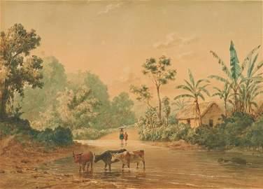 M.J. Cazabon 19th C. Watercolor Landscape, Trinidad