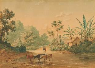 M.J. Cazabon 19th C. Watercolor Landscape, Trinidad