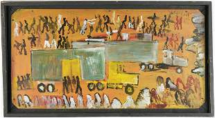 Purvis Young Outsider Art Painting, Assemblage