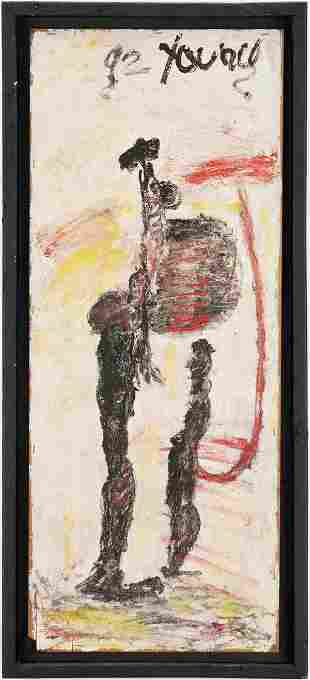 Purvis Young Outsider Art Painting, Two Abstract
