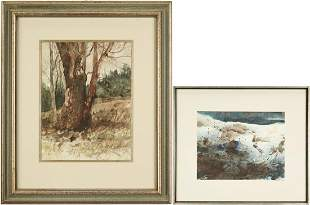 2 Carl Sublett Watercolors, Hill Tree & Winter Mountain