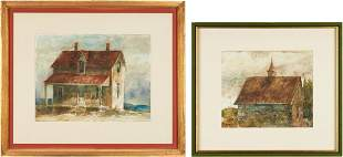 2 Carl Sublett Watercolor Paintings incl. The Steeple