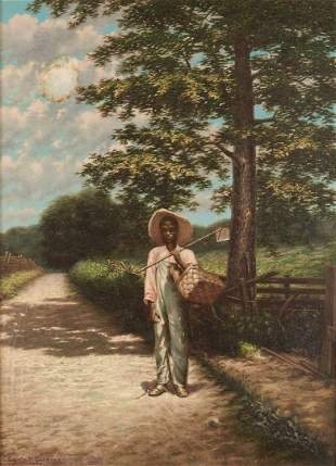 Exhibited Edwin M. Gardner Painting, Hoe in Hand