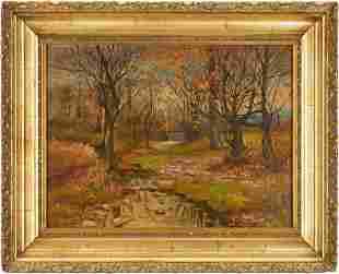Cornelius Hankins O/C, Autumn Landscape w/ Creek