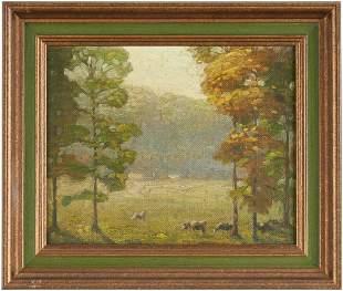 Hugh Tyler O/B Landscape w/ Cows, poss. TN
