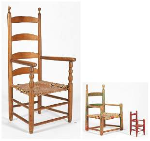 Early Tennessee Ladderback Chair & 2 More