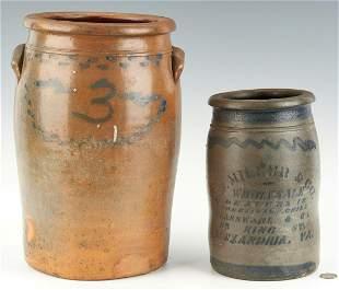 2 VA Stoneware Jars w/ Cobalt, incl. H.J. Miller
