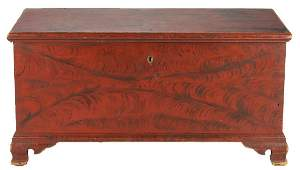 American Painted Blanket Chest with Fraktur