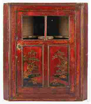 Chinoiserie Red Lacquer Hanging Corner Cupboard