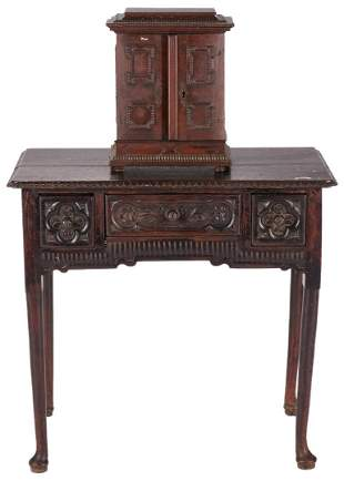 Carved English Spice Chest and Dressing Table