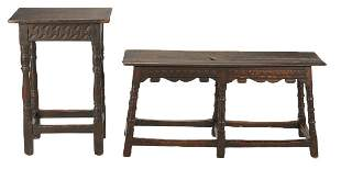 William & Mary English stretcher bench and table