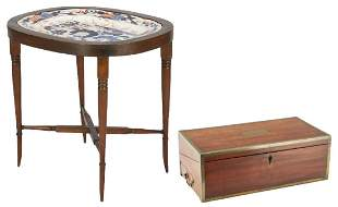 Labeled Writing Desk and Imari Platter Stand, 2 items