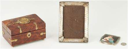 Burl Cigar Box Silver Compact and Frame