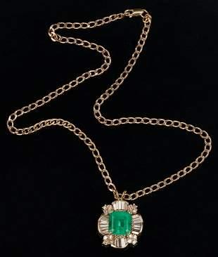 Ladies 11 Carat Emerald, Gold, & Diamond Pendant &