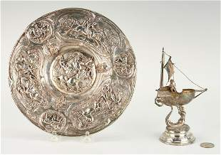 Continental Silver Salt Nef and Horse Motif plate