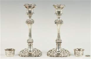 4 English Sterling Silver Items, incl. Candlesticks