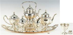 5 pc. Reed & Barton Sterling Tea Set w/ SP Kettle and