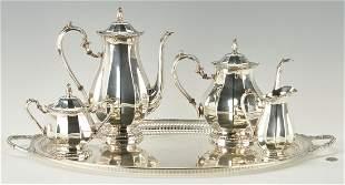 International Sterling Tea Set & Oval Tray, 5 Pcs.