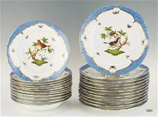 24 Herend Rothschild Bird Blue Pattern Chargers, Soup