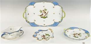 4 Herend Rothschild Bird Blue Border Serving Items