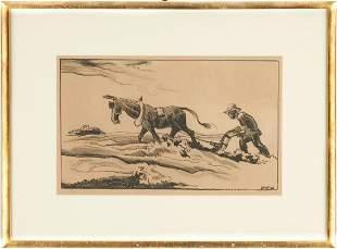 "Thomas Hart Benton Lithograph, ""Plowing It Under"""