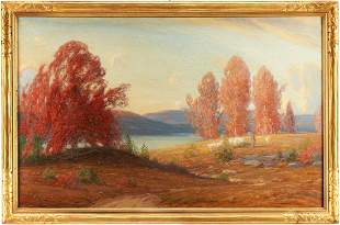 Gustave Wiegand O/C Painting, Autumn Landscape w/ Sheep