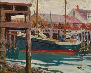 Richard Holberg O/C Painting, Harbor Scene