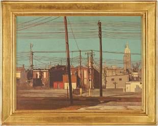 Harry A. Davis Acrylic on Board Downtown Scene of