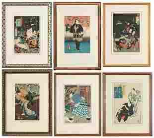 6 Japanese Framed Woodblocks