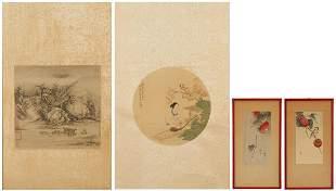 2 Asian Scroll Paintings & 2 Japanese Prints
