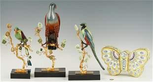 3 Gilt Bronze and Enamel Birds plus Butterfly Box, 4