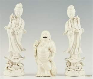 3 Chinese Blanc de Chine Figures, incl. Quan Yin